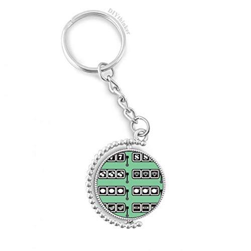 DIYthinker Slot Machine gewinnen Muster Illustration Drehbare Schlüsselanhänger Ringe 1.2 Zoll x 3.5 Zoll Mehrfarbig Slot Car Keychain