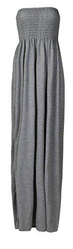 Fast Fashion Damen Maxi Kleid Plus Größe Plain Umführungsvorrichtung Bandeau (Mädchen Kleider Knöchel-länge Für)
