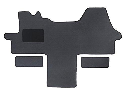 Fußmatte 1614 - Autoteppich von Alpha-Tex (1-tlg. + 2 Einstiege in Qualität Deluxe grau, Umrandung silber)
