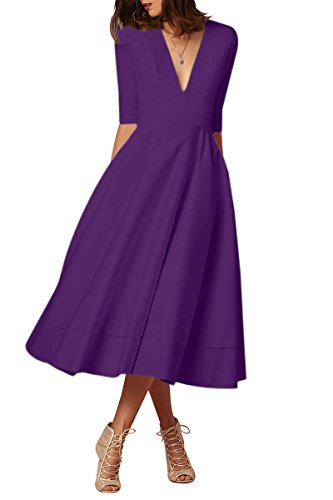 YMING Damen Festliches Kleid Midikleid Vintage Cocktailkleid Schwing Kleid Partykleid Übergröße,Violett,XXL,DE 44 46 (Couture Kleid)