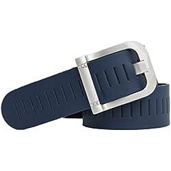 shenky - Cinturón de cuero troquelado - Patrón perforado - 4 cm de ancho - Azul marino - Cintura de 115 cm