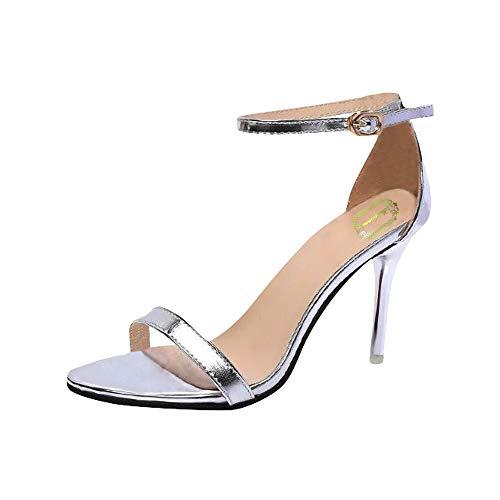 Strungten Frauen Stiletto Open Toe Riemchen Sandalette Knöchelriemen High Heels Sandalen Kleid Arbeiten Brautpartei Hochzeitsschuhe