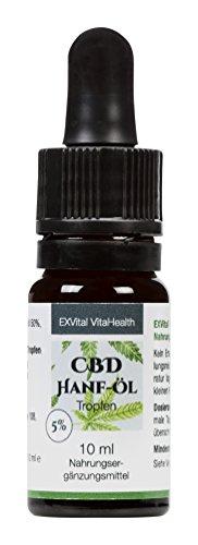 CBD Öl 5% von EXVital Vitahealth in 10 ml Pipettenflasche, Hanföl –Hanf Tropfen mit 5% Prozent, Vegan und Vegetarisch, 500 mg (5%) Cannabidiol (CBD) in Premiumqualität