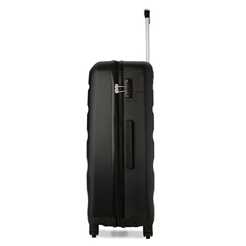 Aerolite ABS Hartschale 4 Rollen Leichtgewicht Handgepäck Kabinenkoffer mit eingebautem TSA Schloss, Genehmigt für Ryanair, British Airways & Viele Mehr, 79cm, Schwarz - 2