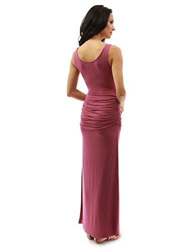 PattyBoutik femmes robe longue d'été sans manches framboise modérée