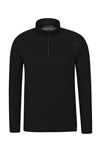 Mountain Warehouse Merino Langarm Baselayer-Thermotop für Herren - Atmungsaktives T-Shirt, Halbreißverschluss, bequemes T-Shirt - Ideal zum Campen Winter Baselayer Schwarz Medium