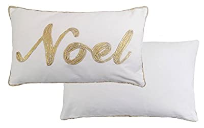 Christmas Noel Gold Cream 100% Cotton Cushion Ready Filled 30 X 50cm