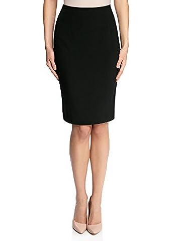 oodji Collection Women's Basic Straight Skirt, Black, UK 12 /