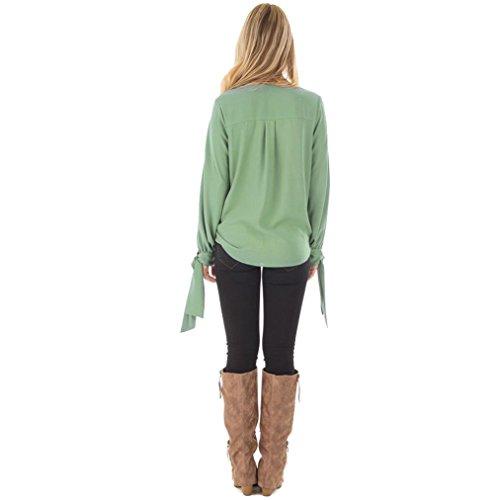 Hffan Frauen Tops Sexy V-Ausschnitt Hemd Chiffon Bowknot Bluse T-Shirt Mode Damen Aus Schulter Sommer Frühling Solide Langarm Crop Tops Frauen Casual Bluse Plissee Tunika Hemd Shirt (Grün, XL)