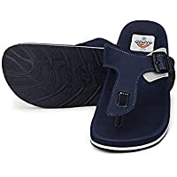 ADDA Faux Leather Navy Blue Flipflop for Men (Size-8)