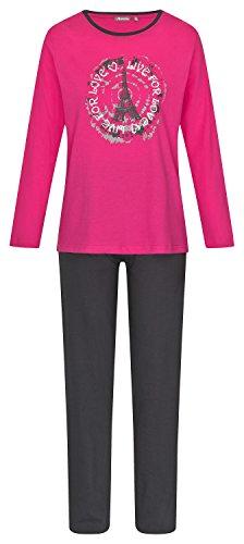 Damen Schlafanzug Pyjama lang aus 100% Baumwolle Gr. S M L XL Pink Anthrazit