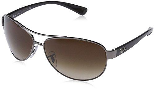 RAYBAN Unisex Sonnenbrille RB3386 Mehrfarbig (Gestell: Gunmetal/Schwarz, Gläser: Braun Verlauf 004/13) X-Large (Herstellergröße: 63)