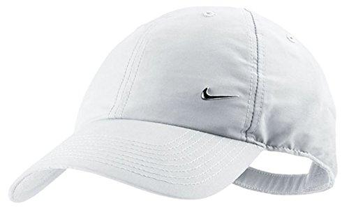 Nike Marque Authentique Compact en métal Swoosh Baseball Casquette de Golf, Blanc
