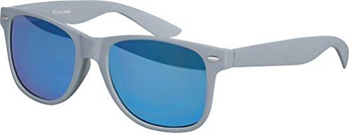 Grau Sonnenbrillen (Hochwertige Nerd Sonnenbrille Rubber im Wayfarer Stil Retro Vintage Unisex Brille mit Federscharnier - 96 verschiedene Farben/Modelle wählbar (Grau - Blau verspiegelt))