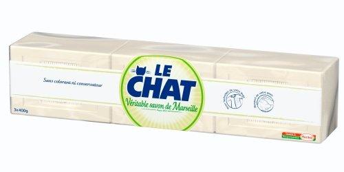 Le Chat - Véritable Savon de Marseille - Savon d'entretien - Blanc - Pain de Savon 3 x 400 g