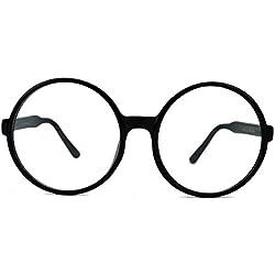 XL Fashion Brille große runde Nerdbrille im Lennon Style L33 (XXL Schwarz / 6.5cm hoch)