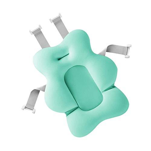 Hamkaw Cuscino Supporto Bagnetto Antiscivolo Materassino Galleggiante per Bagno del Neonato con Fibbia Regolabile Verde