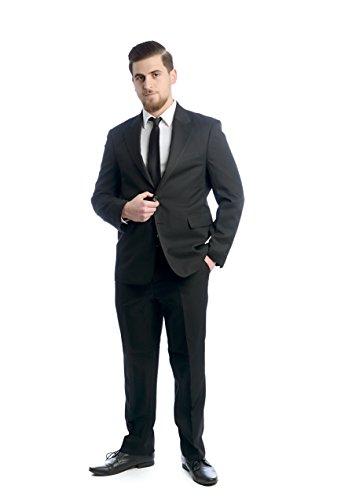 Taillierter 2-tlg. Herren Anzug, 2-Knopf Sakko und Hose, Schwarz, Gr. 62