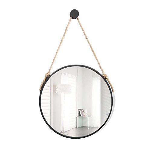 Miroirs Fer Rond De Salle De Bains Rond Décoratif (Color : Black, Size : 50 * 50 * 5cm)