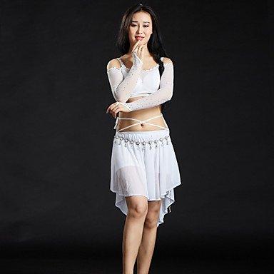 Danse du ventre Tenue Femme Entraînement Elasthanne Strass 5 Pièces Manche longue Taille basse Jupes Hauts Soutien-gorge Ceinture Short NAVYBLUE-ONESIZE