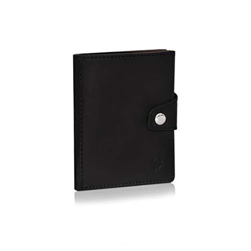 DONBOLSO Wallety Leder Geldbörse mit Münzfach - Geldbeutel klein mit RFID Schutz - Platz für 10 Karten - Mini Portemonnaie für Herren und Damen - Slim Wallet - Schwarz/Braun - Schwarz Leather Slim Wallet