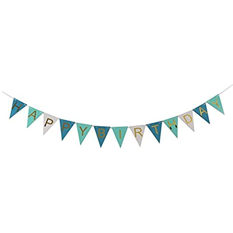 sourcingmap® HAPPY BIRTHDAY Brief Muster Dreieck Form Party Foto Stütze Fahne blau weiß
