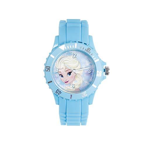 Disney Frozen Die Eiskönigin ELSA Anna Mädchen Analog Armbanduhr für Kinder aus Silikon, hellblau, wasserdicht