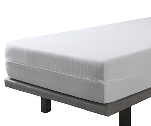 Velfont - Elastischer Matratzenbezug mit Reißverschluss 140 x 200 cm | Matratzenüberzug | beständiger und atmungsaktiv Stoff rundum Matratzenauflage | für Matratzen-Höhe 15-30cm. 140cm x 190/200cm