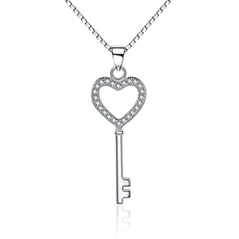 Aristo 925 Sterling Silver Key Pendant Necklace 18