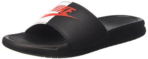 Nike Benassi Badeschuhe (Nike Herren Benassi JDI Dusch-& Badeschuhe, Schwarz (Black Game Redwhite 006), 46 EU)