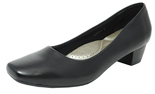womens-ladies-leather-lined-comfortable-black-low-heel-court-shoes-size-6