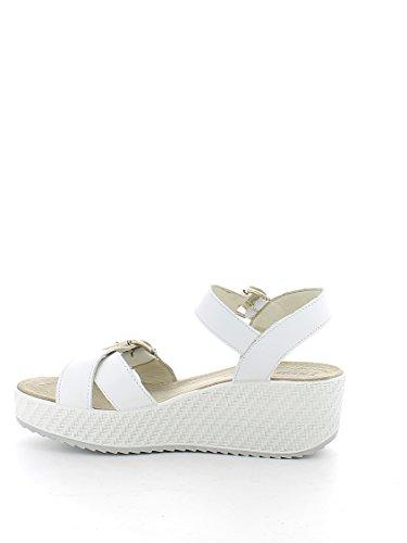 ENVAL 59833 weiße Sandalen weichen Lederband Plateaus Frau Bianco