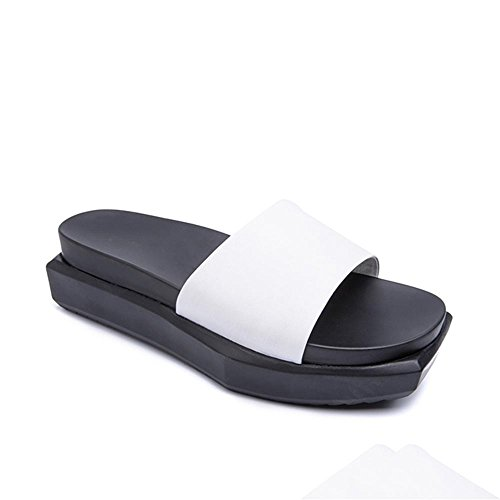 Heart&M Square Toe Women Flat Sole Muffin Talon Moyen plate-forme solide Sandales couleur Chaussons White
