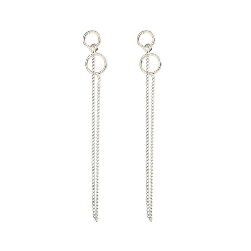 waga^life Double Ring Chain Earrings Punk V Stud zqMSCad