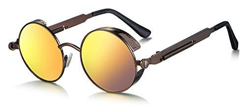 WHCREAT Retro Rund Polarisierte Sonnenbrille UV400 Schutz Steampunk Stil Brillen - Tee Rahmen Gold Linse