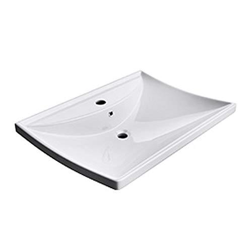 BTH: 60x44x16cm Hänge-/ Aufsatzwaschbecken inkl. Nano-Versiegelung/Abperl-/ Lotus-Effekt aus Keramik Brüssel709, weiß