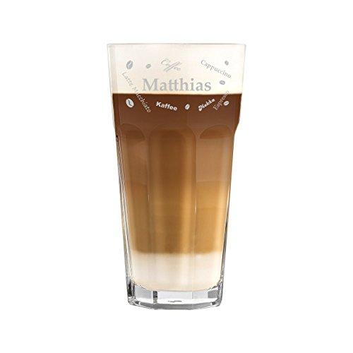 polar-effekt Latte Macchiato Glas 480ml Personalisiert - für Getränke wie Cappuccino, Kaffee-Latte und Co mit Gravur - Geschenk-Idee zum Geburtstag - Motiv Kaffeevielfalt