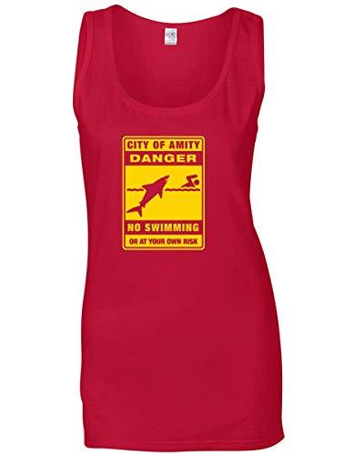 T-Shirtshock Canottiera Donna Rosso FUN3717 Amity baignade interdite panneau Danger