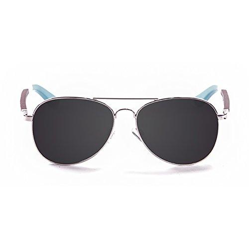Ocean paloalto Sunglasses San Diego Sonnenbrille Unisex Erwachsene, Silver Metal/Wood/Light Blue
