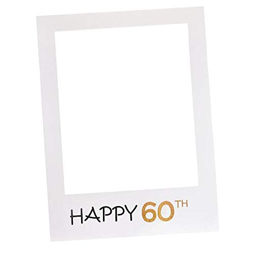 HITSAN INCORPORATION Happy 1/16/18/30/35/40/50/60th Paper Photo Booth Props Photo Frame Anniversary 30 Years Birthday Decorations Party Gift Supplies Color 60 th