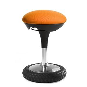 Topstar Sitness 20, ergonomischer Sitzhocker, Arbeitshocker, Bürohocker mit Schwingeffekt, Sitzhöhenverstellung, Bezug orange