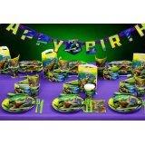 haveaniceparty 136002043 - Ninja Turtles: Kindergeburtstag Basis-PartySet Violett für 6 Personen 74tlg.