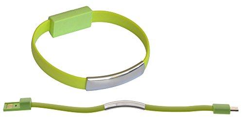 abel USB Daten Kabel Arm Band Bracelet Kette USB gummi elastisch zu Micro USB für Samsung, HTC, LG, Nokia, Sony, Huawei, Motorola, etc.- in Grün ()