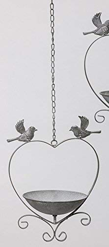 linoows Vogeltränke, Vogelbad zum Hängen, Retro Vogel-Futterschale in Herzform, Metall