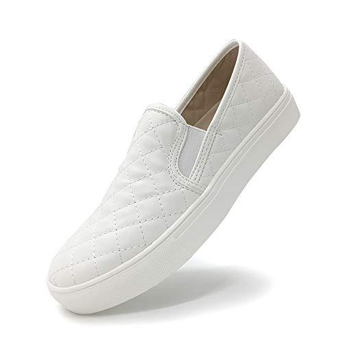 HEVA Damen Klassische Schuhe Loafers Fahren Halbschuhe(38EU Weiß) - Damen Weiß Loafers Schuhe