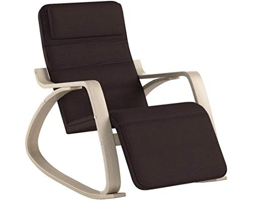 SONGMICS Schaukelstuhl Relaxstuhl Belastbarkeit 150 kg Abnehmbarer und waschbarer Bezug braun LYY60Z, 67 x 115 x 91 cm