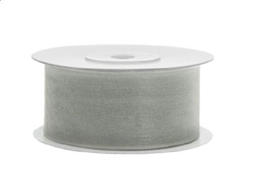 Chiffon-band (SiDeSo® Chiffonband 25m x 38mm viele Farben Hochzeit Organza Dekoband Geschenkband Antennenband Schleifenband (grau))