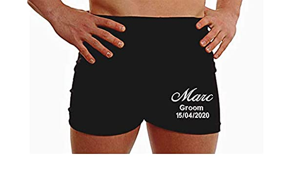 PERSONALISED MEN BOXERS SHORT UNDERWEAR WEDDING GIFTs HUSBAND GROOM BEST MAN LEG
