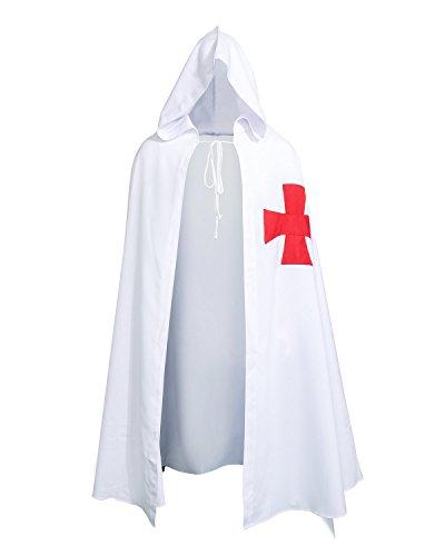 Nofonda Mantello con Cappuccio Medievale Templare Cavaliere,Costume di Halloween con Croce Maltese Design per Uomini per Cosplay, Carnevale, Masquerade,Festa a Tema (Bianco Mantello)