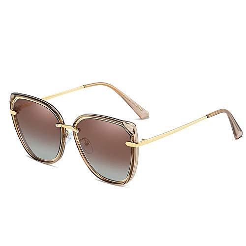 Easy Go Shopping Cat Eye Fashion Classic Große Sonnenbrille mit rundem Rahmen HD UV Protection Womens Polarized Sunglasses Sonnenbrillen und Flacher Spiegel (Color : Braun, Size : Kostenlos)